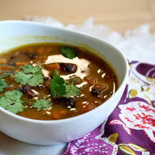 Lentil & Sweet Potato Soup with Bacon & Cilantro