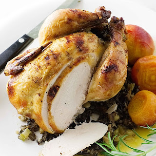 Roasted Cornish Game Hens & Wild Rice-Fig Stuffing.