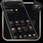 贅沢な金色の3D黒のテーマ icon