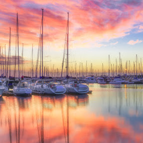 Sunrise by Dom Del - Transportation Boats ( water, clouds, boats, ocean, sunrise )