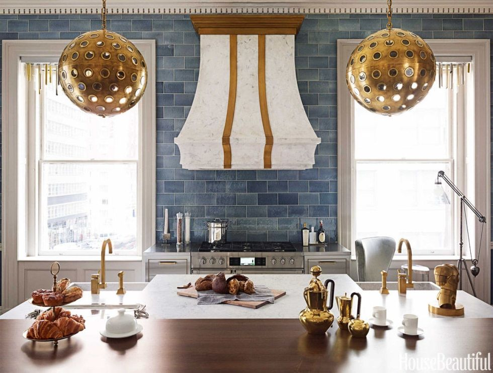 I Love This Kitchen With The Double Sinks And Blue Tile Up To Ceiling