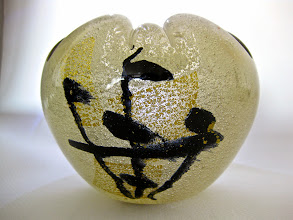 Photo: Bollicine e sommerso with geometric gold leaf and abstract design in black.