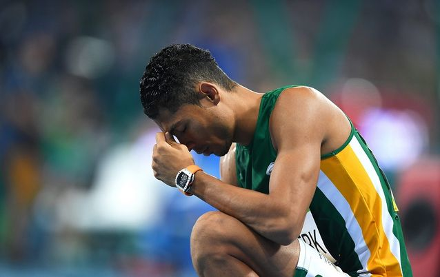 Wayde van Niekerk after winning the men's 400m final in the Rio 2016 Olympic Games. Picture: EPA/LUKAS COCH AUSTRALIA AND NEW ZEALAND OUT