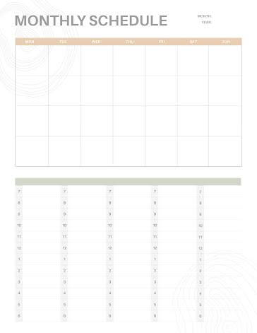 Numbered Schedule - Planner template