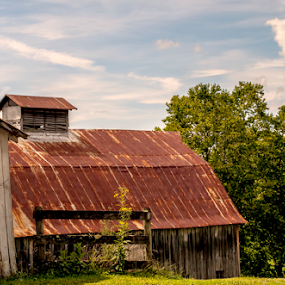 Old Mountain Barn by Frank Matlock II - Landscapes Mountains & Hills ( clouds, hills, old, blue sky, mountain, barn, antique )