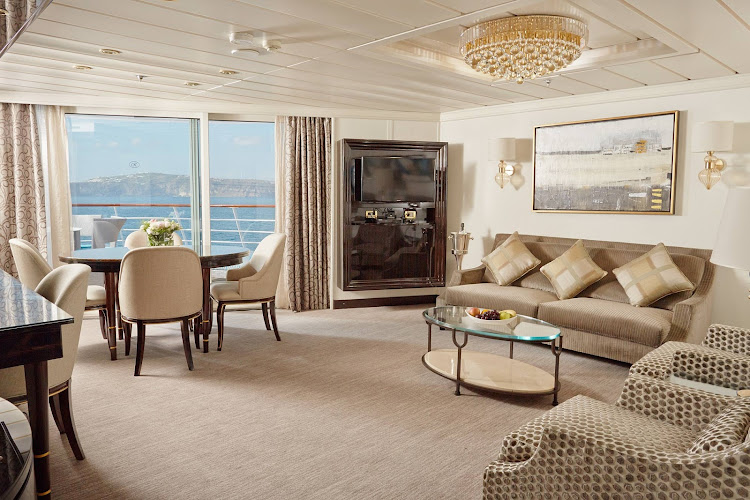 A luxurious Suite aboard Seven Seas Mariner.