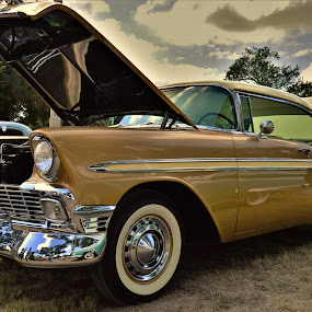 56 Chevy Classic by Benito Flores Jr - Transportation Automobiles ( gold, classic, white wall, car show, texas, 1956 )