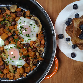 Sweet Potato Hash with Chorizo & Mushrooms