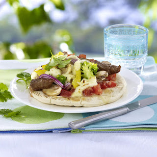 Pita Bread with Steak and Vegetables.
