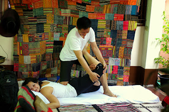 Photo: Peth helps run a hostel and gives amazing massages. 1 hour = 200 baht ($6)