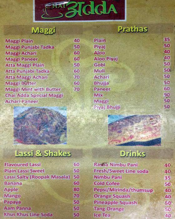 Chai Adda menu 1