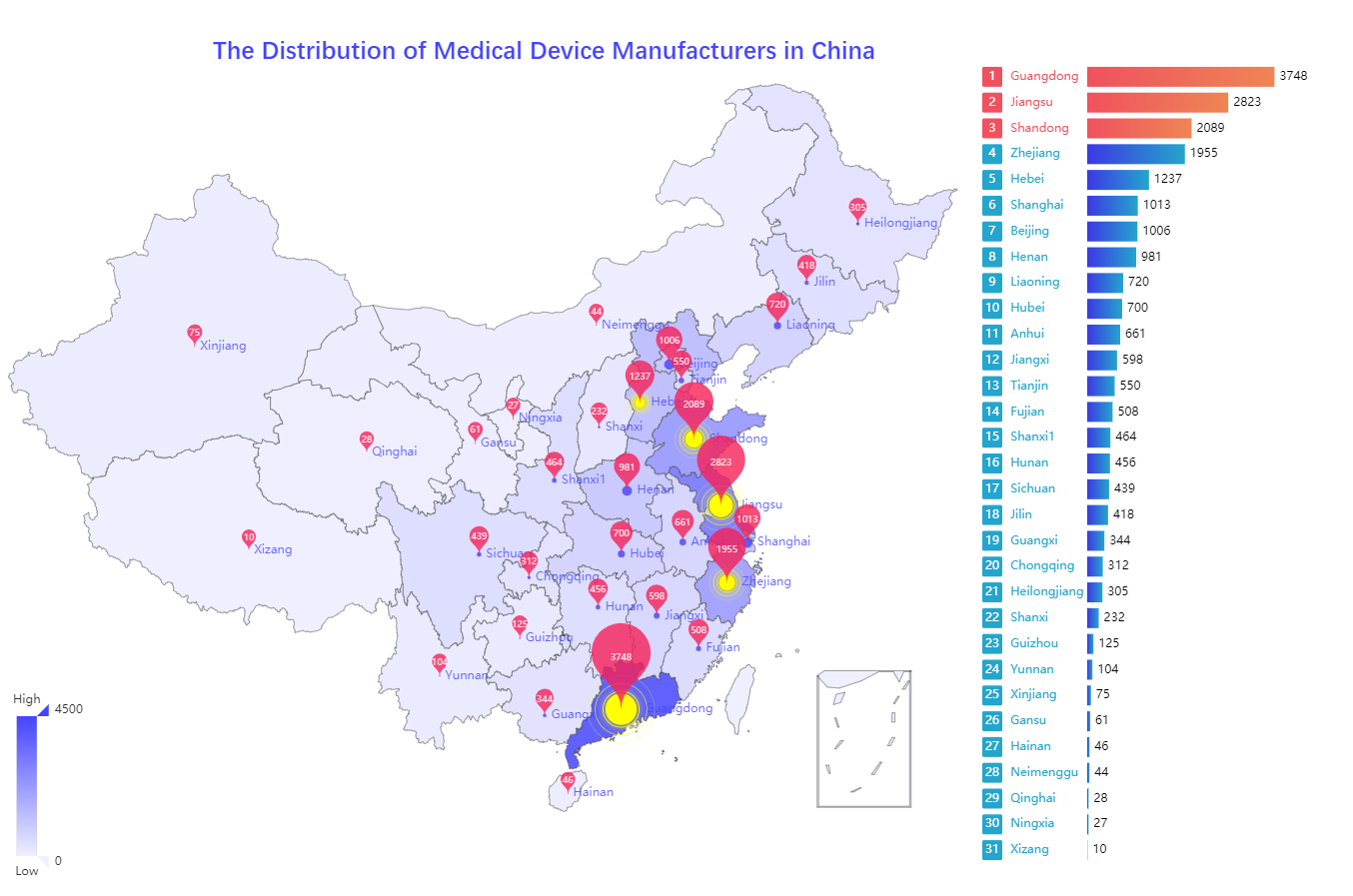 The Distribution of Medical Device Manufacturers in China