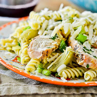 Grilled Chicken Pasta Salad with Artichoke Hearts.