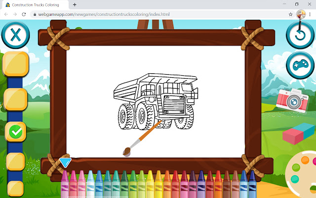 Construction Trucks Coloring Game