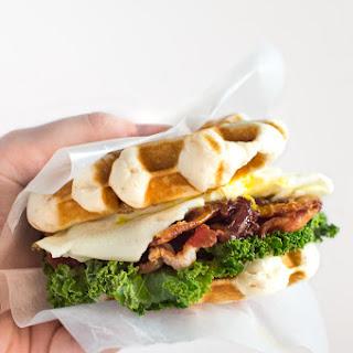 Waffle Breakfast Sandwich with Cherry Bacon Jam