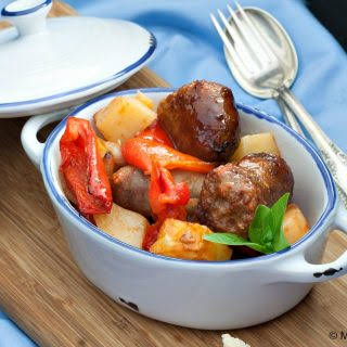 Italian Sausage with Bell Peppers and Potatoes.