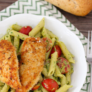 Pesto Pasta with Chicken Tenders, Shallots and Cherry Tomatoes Recipe