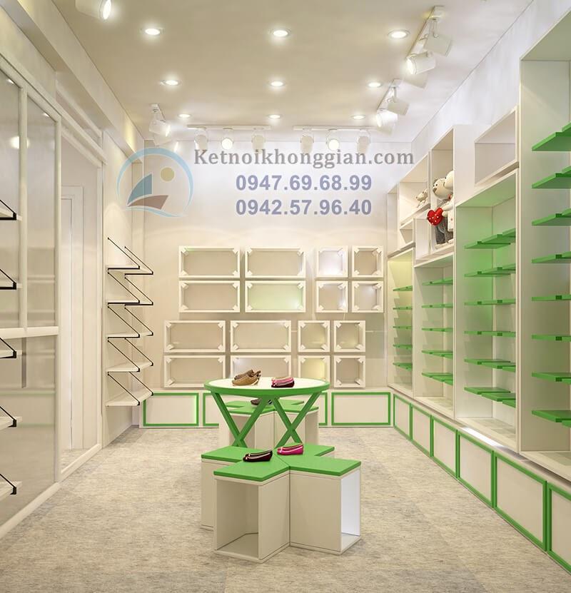 thiết kế cửa hàng thời trang trẻ em đồng nhất về phong cách