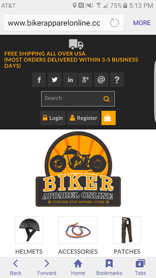 Biker apparel online- screenshot