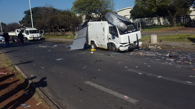 Cash-in-transit vehicles attacked on Atlas Road.