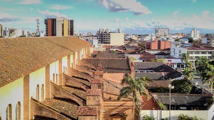 view of santa cruz from the Cathedral Basilica of St. Lawrence at the plaza central in santa cruz bolivia