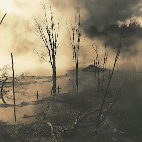 Dark waters by Martina Frnčová - Landscapes Waterscapes ( sunlight, moody, dark, mud, water, trees, mist, fog,  )