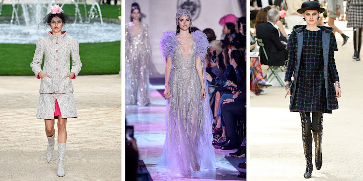 Left to right: Alex Binaris walks for Chanel, Elie Saab and Chanel