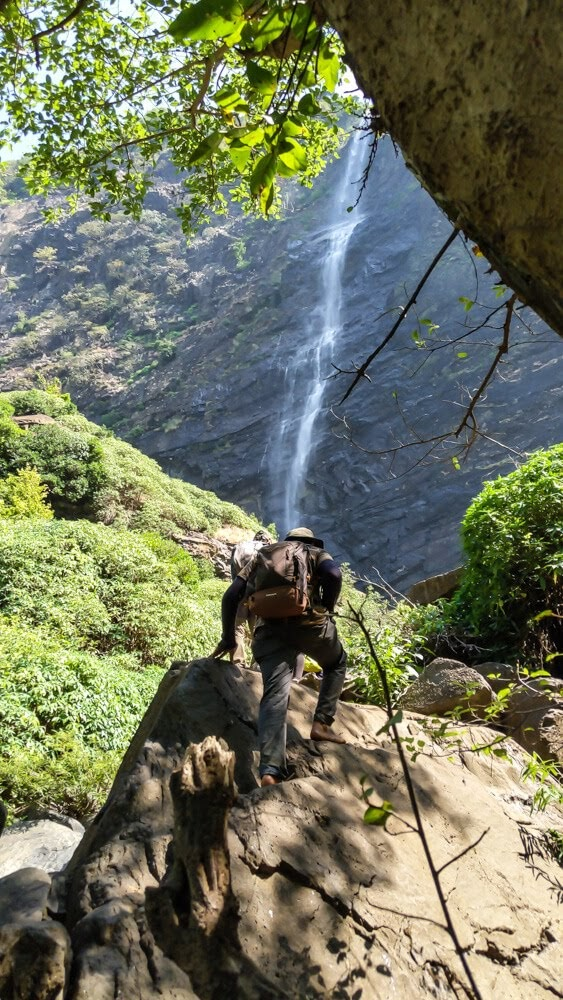 climbing to belligundi waterfall in sharavathi valley karnataka