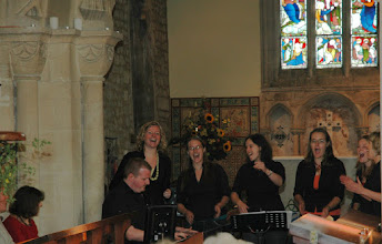 """Photo: LIFTED, fresh from competing in BBC TV's """"Last Choir Standing"""", performing a range of contemporary gospel arrangements in Priston Church.© Richard Bottle 2008"""
