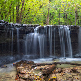 Deep in the Woods by Ken Smith - Landscapes Travel ( platte river state park, waterfall, nebraska, landscape )