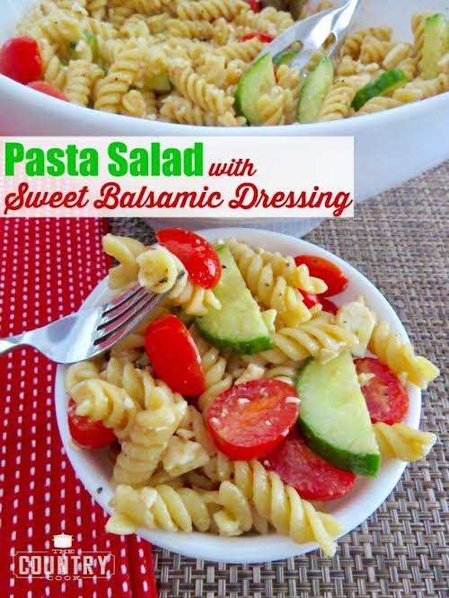 """Pasta Salad with Sweet Balsamic Dressing """"The sweet balsamic dressing really makes..."""