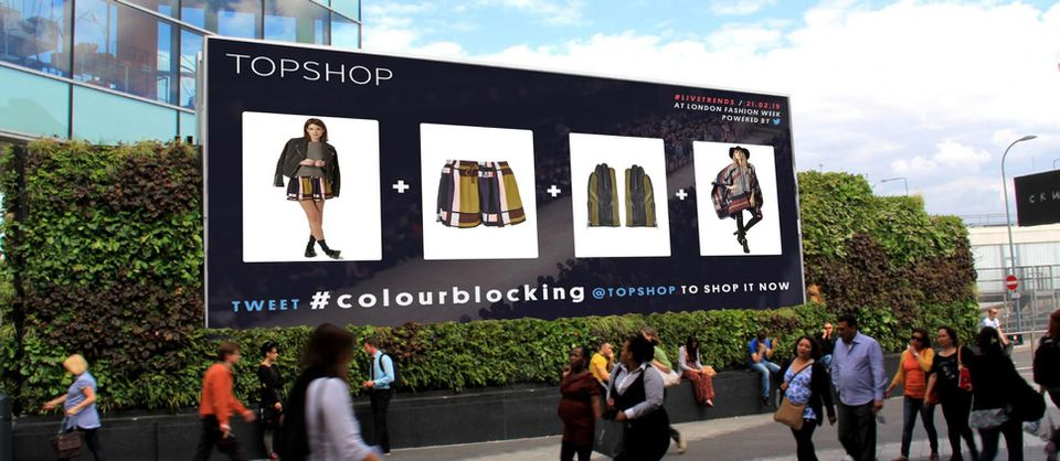 Topshop integrated social media with their outdoor advertising in prime position.