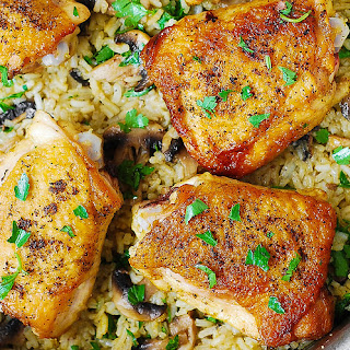 Chicken Thighs with Mushroom Rice
