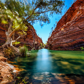 Hamersley Gorge by Greg Tennant - Landscapes Waterscapes ( water, sky, rocks,  )