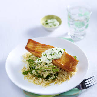 Salmon Fillets with Arugula Rice and Herb-Yogurt Sauce.