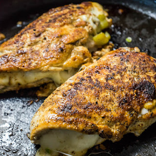 Spicy Stuffed Chicken with Roasted Banana Peppers.