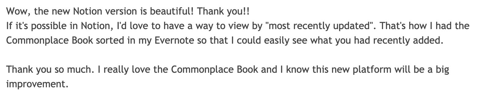 Commonplace Book Praise