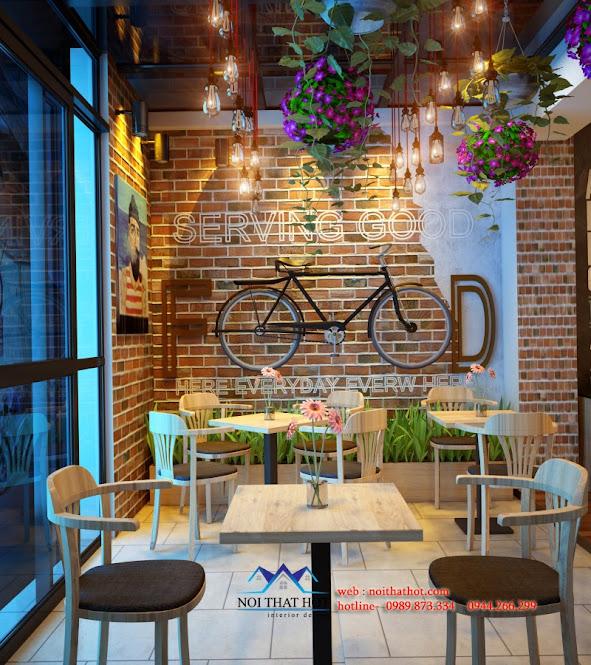 thiết kế quán cafe với cây xanh và hoa tươi trẻ trung