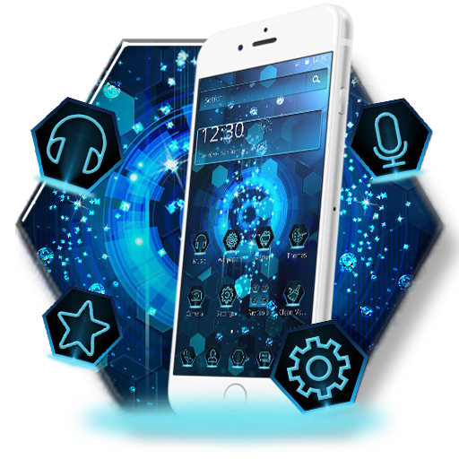 Blue Technology Diamonds Theme Android APK Download Free By CM Launcher Team