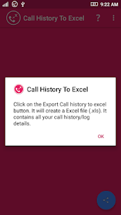 Call History To Excel- screenshot thumbnail