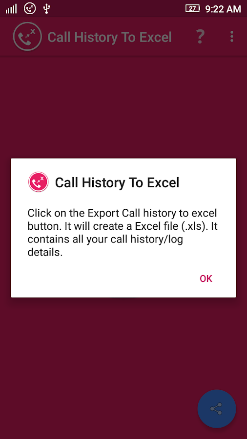 Call History To Excel- screenshot
