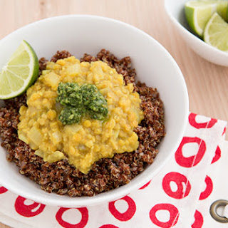Curried Red Lentil & Quinoa Bowls with Cilantro-Mint Chutney