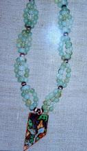 Photo: Copper enamel pendant, new jade, copper, 14K gold vermeil  SOLD/ПРОДАНИЙ