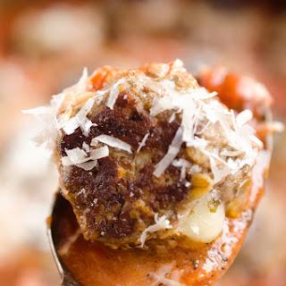 Provolone Stuffed Pesto Meatball Skillet.