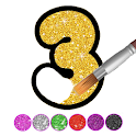 Glitter Number and letters coloring Book for kids icon