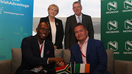 Back, from left: Heather Humphreys, Ireland's minister of business, enterprise and innovation; and Kevin Sherry, executive director for global business development at Enterprise Ireland. Front: Mpho Sadiki, executive head of card and payments acceptance at Nedbank; and Gavin O'Sullivan, regional manager for Sub-Saharan Africa at Fexco.