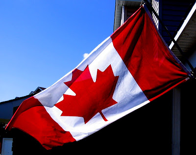 Canadian Flag flying on the door step
