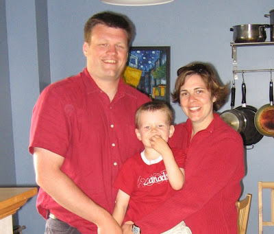 The Bussey Family wearing red on Canada Day