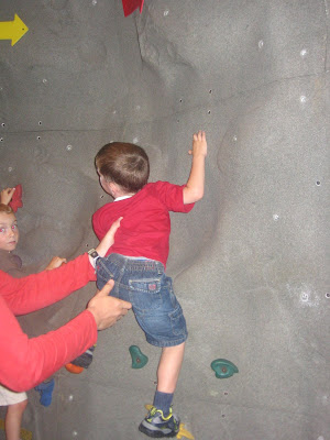 BigE on a climbing wall
