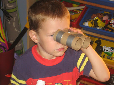BigE side view of paper towel binoculars